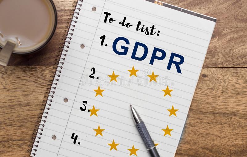 Règlement général GDPR de protection des données photographie stock