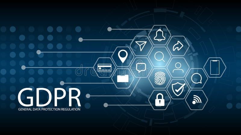 Règlement GDPR de protection des données Sécurité et intimité de Cyber illustration de vecteur
