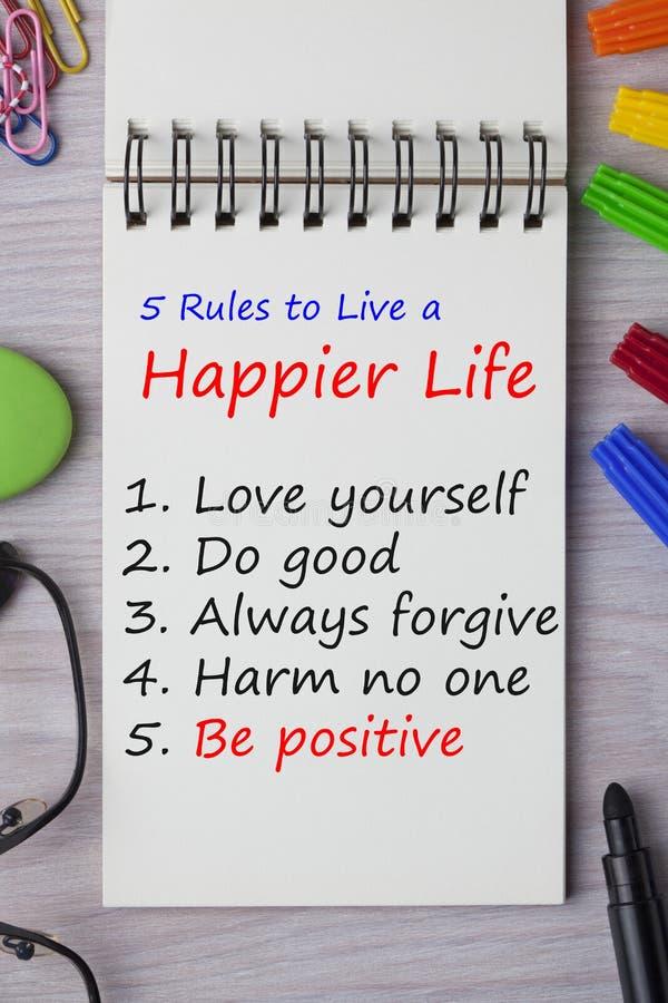 Règles à vivre une vie plus heureuse illustration stock