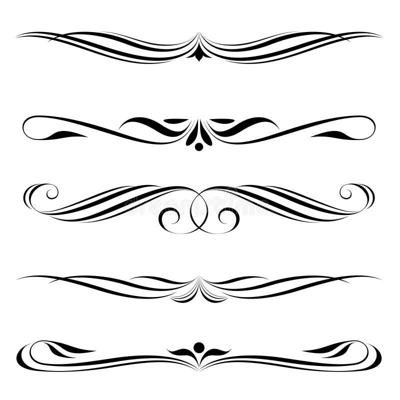 Règles décoratives d'éléments, de cadre et de page illustration stock