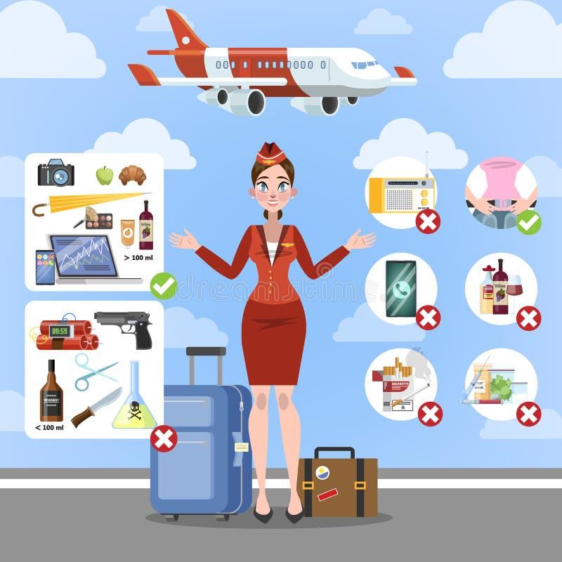 Règles d'avion pour la sécurité à bord illustration stock