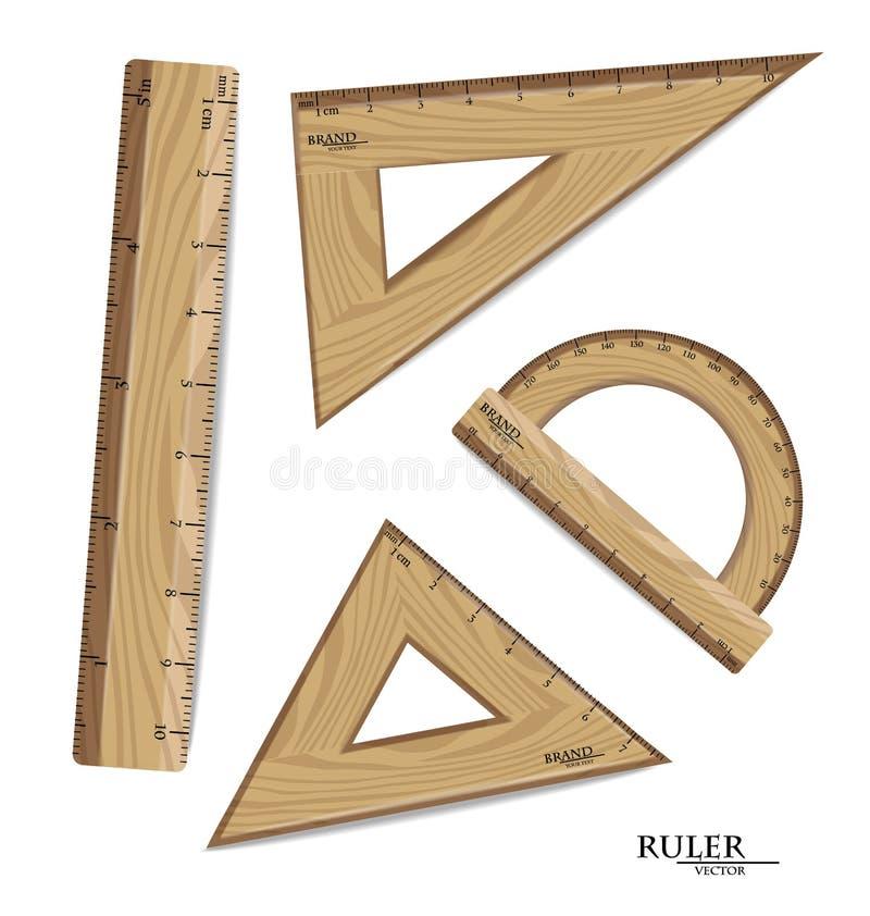 Règles en bois dessinant le vecteur réglé réaliste Rapporteur, triangles d'isolement sur le blanc Mesures métriques impériales illustration stock