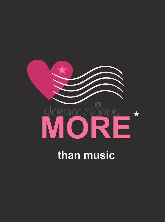 """Règles musicales émergeant du coeur Le texte """"davantage que la musique """" Calibre pour la bannière de festival dans le vecteur illustration libre de droits"""