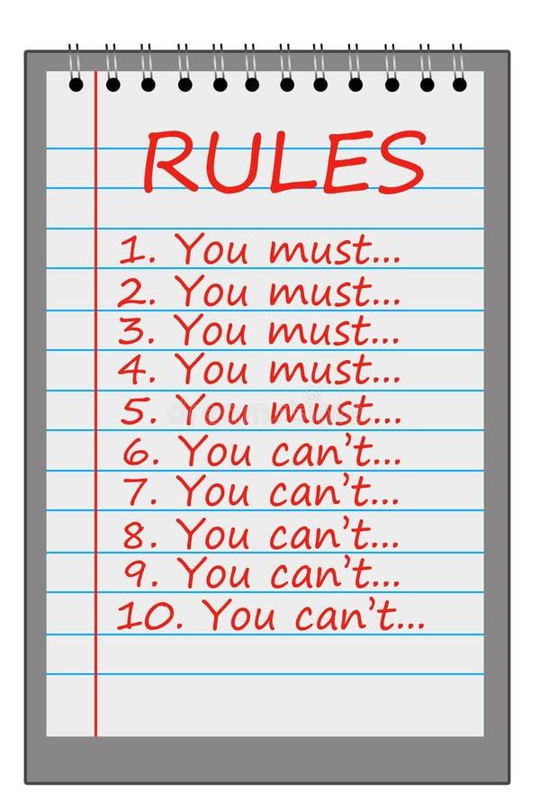 Règles strictes illustration stock