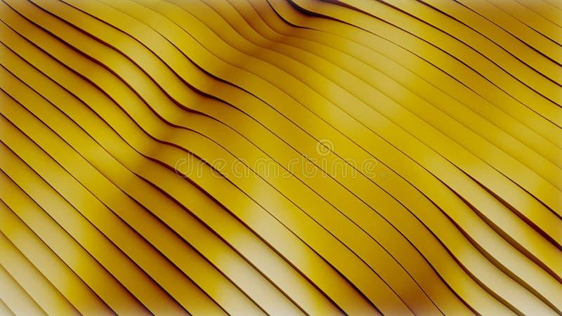 Réaction abstraite des vagues étincelantes dorées comme le flux de matière, fond métallique doré image libre de droits