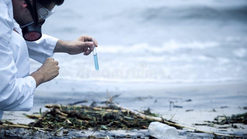 Réaction chimique de attente d'analyste d'échantillon de voir le résultat de la pollution de l'eau photographie stock libre de droits