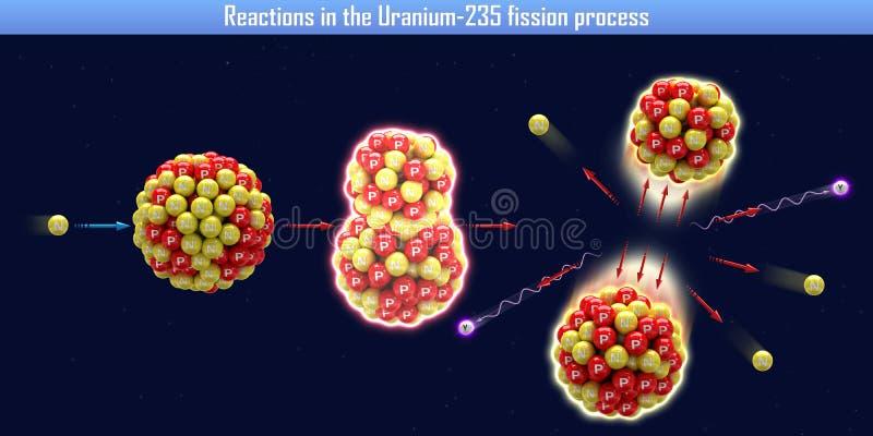 Réactions dans le processus de la fission Uranium-235 illustration libre de droits