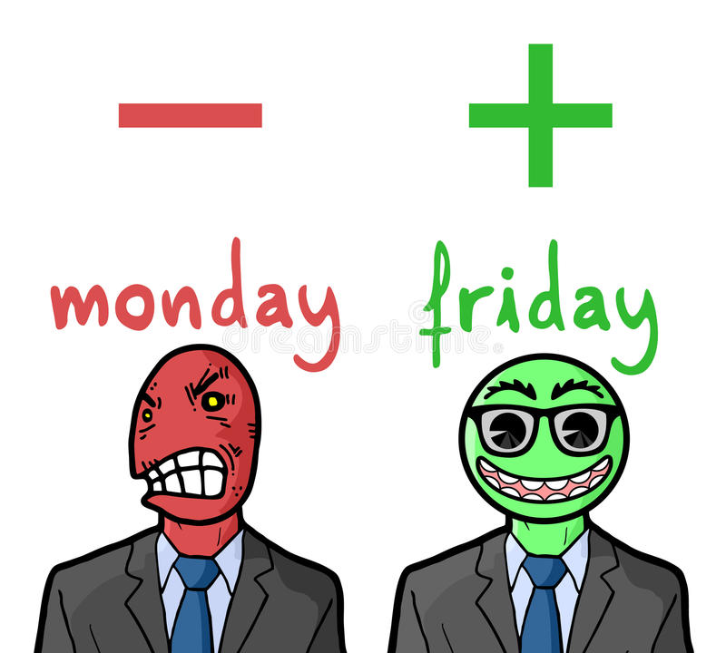 Réactions de lundi et de vendredi illustration libre de droits