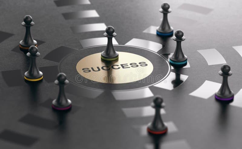 Réalisation du succès, du candidat de travail réussi ou du demandeur illustration stock