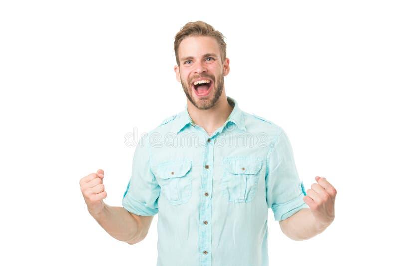 Réalisez la réussite Homme avec la barbe heureuse au sujet de la solution Célébrez le bon résultat toute la solution de problèmes photographie stock