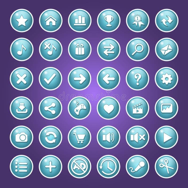Réaliste bleu de couleur de bouton de GUI Ensemble d'ic?ne d'illustration de vecteur illustration stock