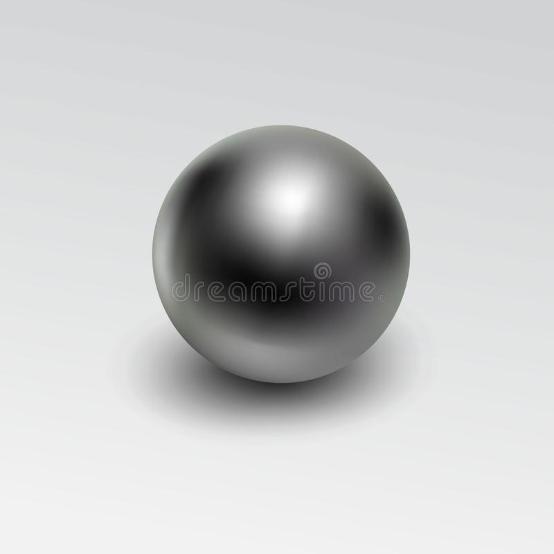 Réaliste de boule en métal de Chrome d'isolement sur le fond blanc illustration stock