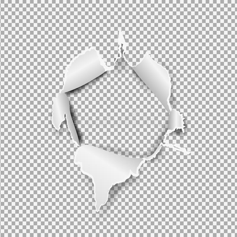 Réaliste de papier déchiré, trou dans la feuille de papier sur un fond transparent illustration stock