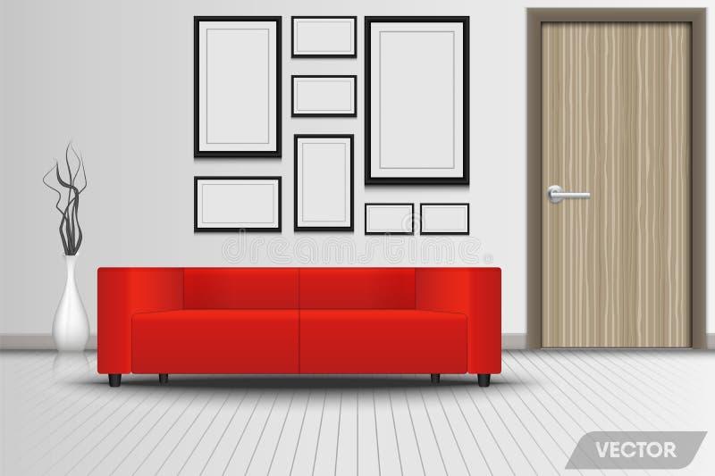 Réaliste du salon intérieur moderne et des meubles décoratifs , Divan rouge de luxe, cadre de photos, vase en céramique dans la c illustration stock