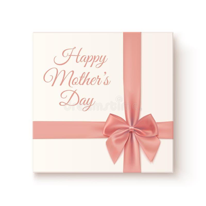 Réaliste, icône de cadeau de vintage la fleur de jour donne à des mères le fils de momie à illustration stock