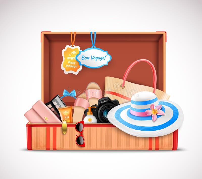 Réaliste ouvert de rétro de valise bagage de vacances illustration libre de droits