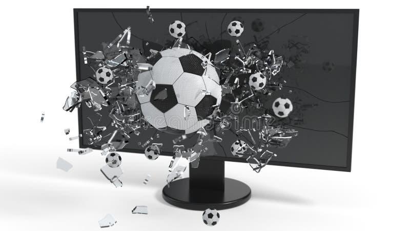 Réalité virtuelle, boule en verre cassée sur l'écran, rendu 3d illustration stock