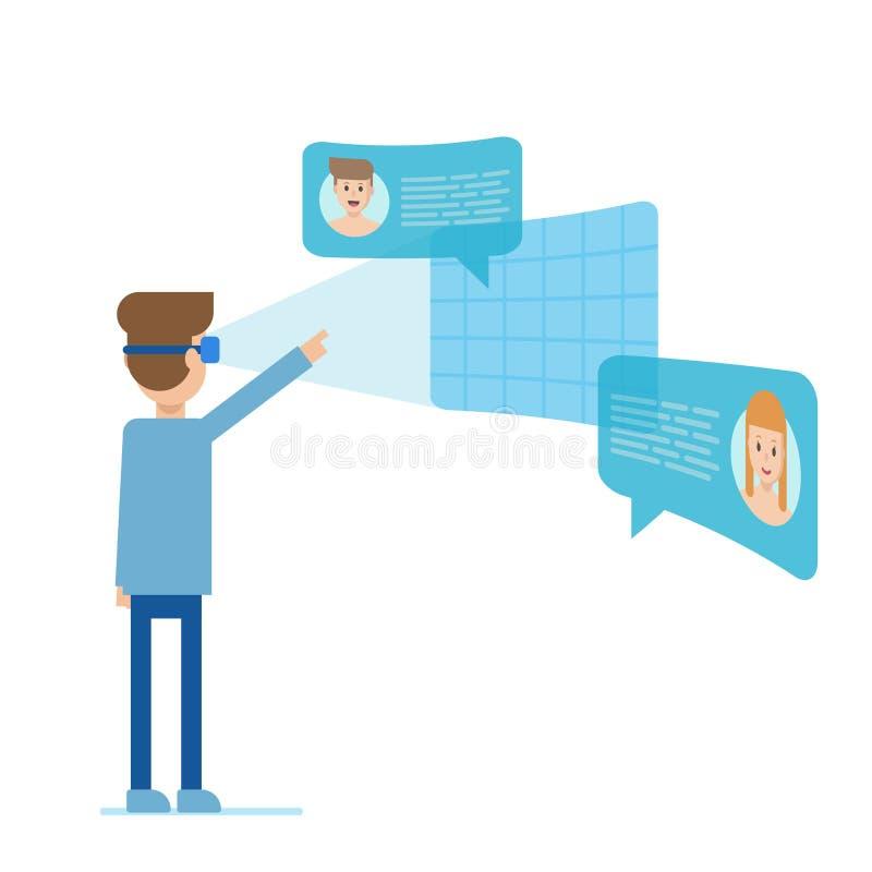 Réalité virtuelle de personne illustration stock