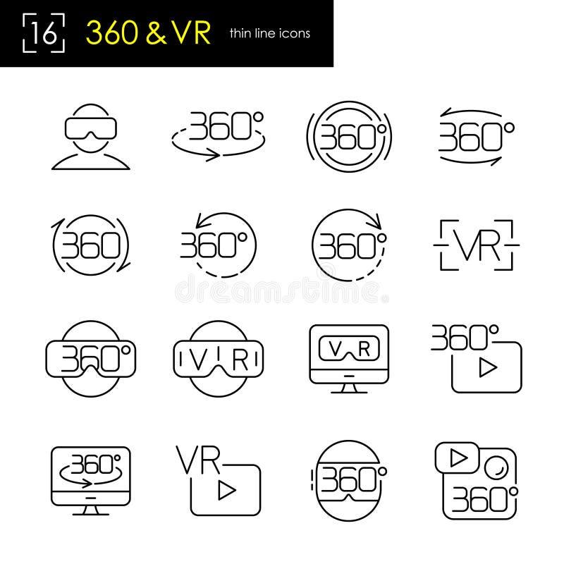 Réalité virtuelle et 360 degrés de vue panoramique de symbole d'ensemble d'icône, ligne mince style de course illustration stock
