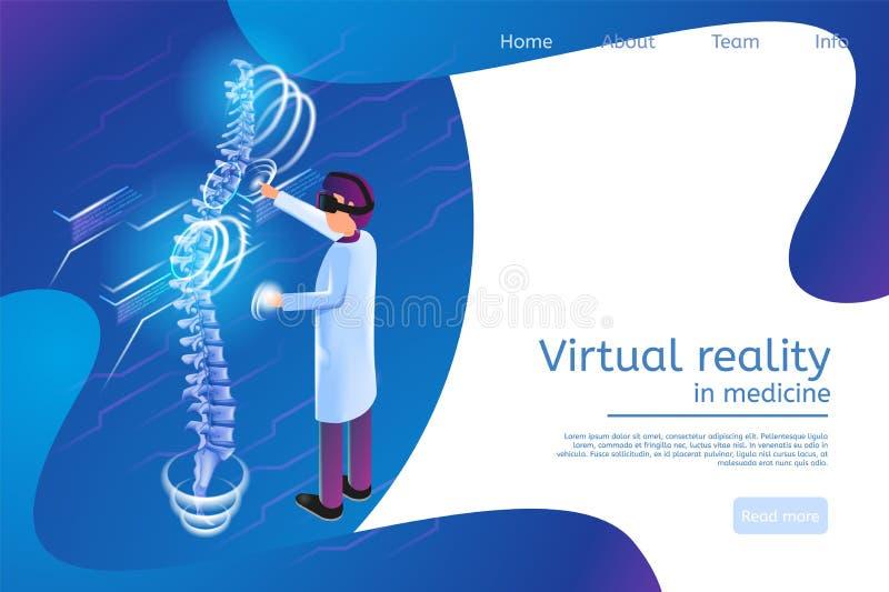 Réalité virtuelle isométrique de bannière dans la médecine 3 illustration libre de droits