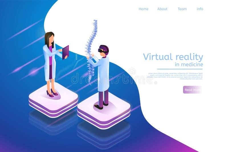 Réalité virtuelle isométrique de bannière dans la médecine 3d illustration libre de droits