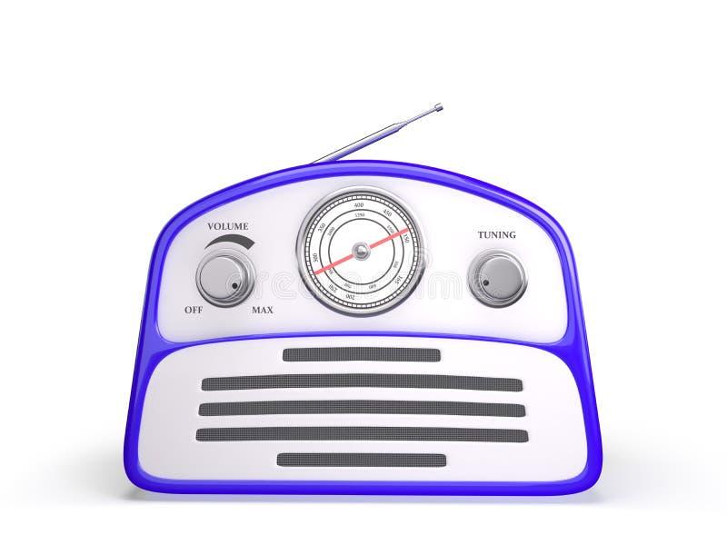 Récepteur radioélectrique de vieux style bleu de vintage rétro image libre de droits