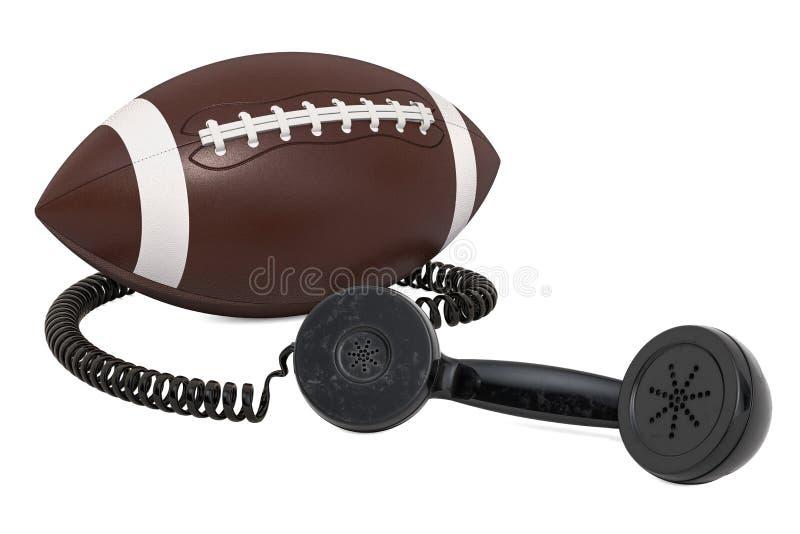 Récepteur téléphonique avec la boule de football américain, rendu 3D illustration de vecteur