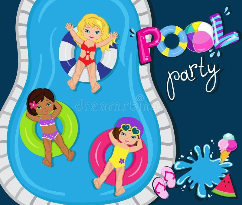 Réception au bord de la piscine pour des filles Illustration de vecteur illustration stock