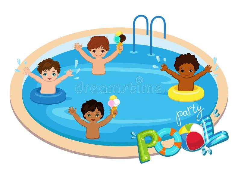 Réception au bord de la piscine pour des garçons Illustration de vecteur illustration libre de droits