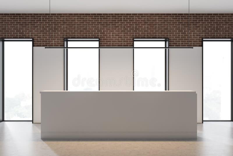 Réception dans le blanc et bureau de brique avec des fenêtres illustration de vecteur