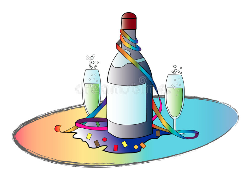Réception de Champagne ! illustration de vecteur