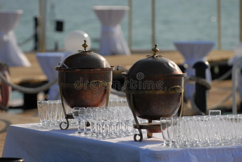 Réception de cocktail de bord de la mer photos libres de droits
