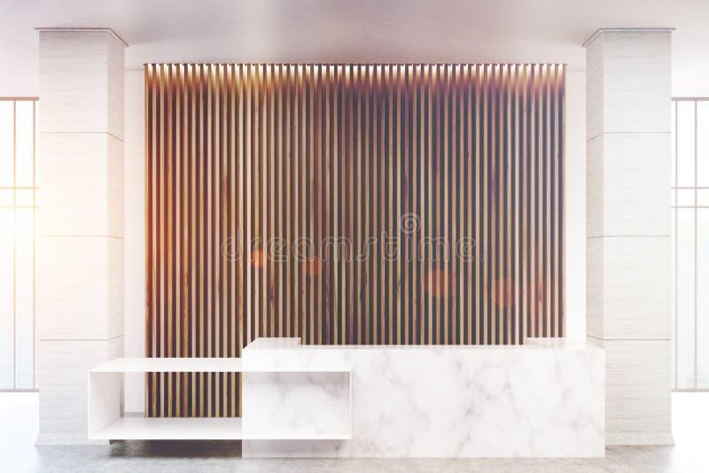 Réception de marbre blanche, aveugles en bois, modifiés la tonalité illustration de vecteur