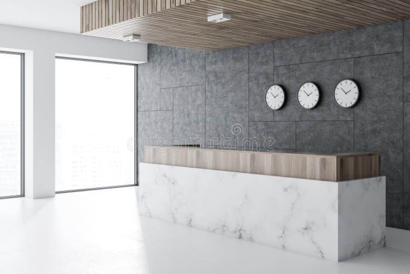 Réception de marbre dans le lobby de bureau, horloges illustration de vecteur