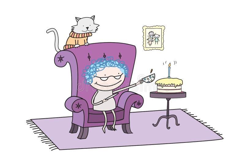 Réception de thé d'anniversaire de Grandmotherâs image stock