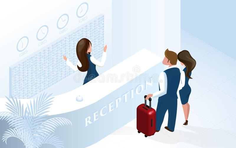 Réceptionniste aux couples d'accueil de réception d'hôtel illustration stock