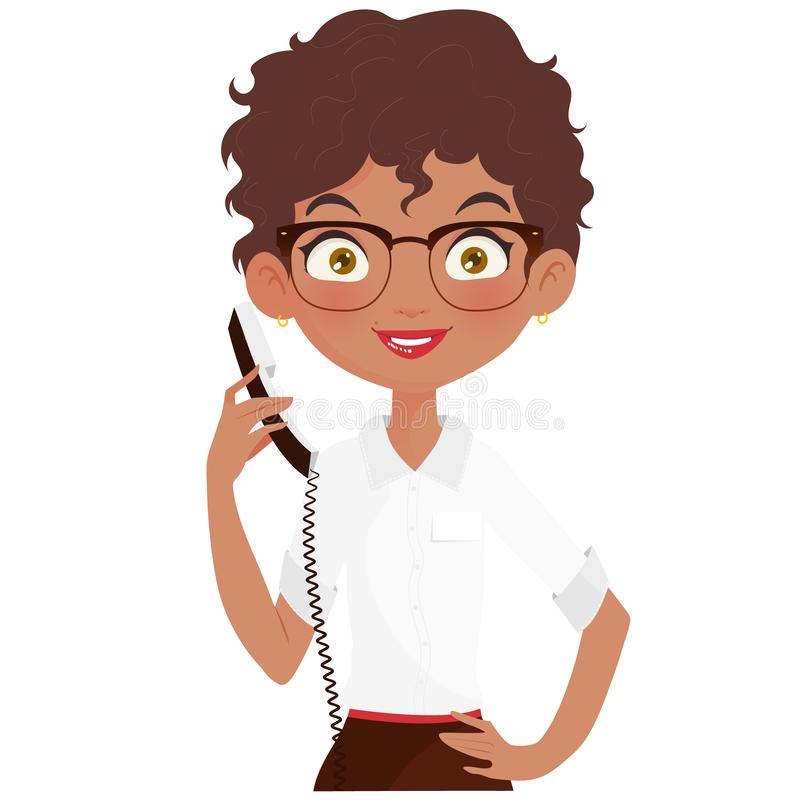 Réceptionniste heureux tenant un téléphone photos stock