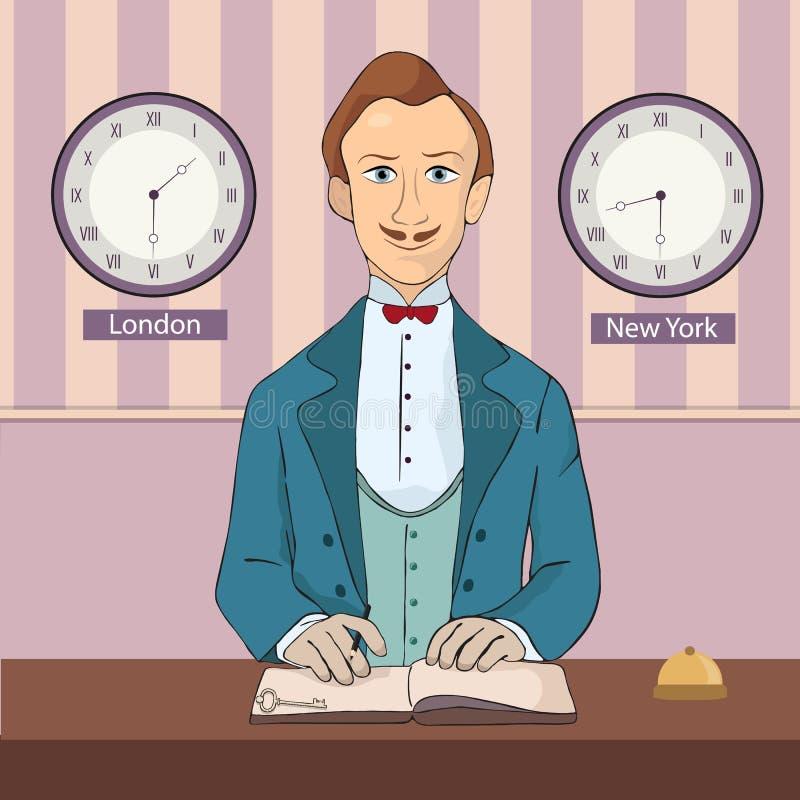 Réceptionniste masculin se tenant à la réception d'hôtel illustration libre de droits