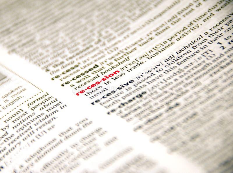 Récession en dictionnaire photos stock