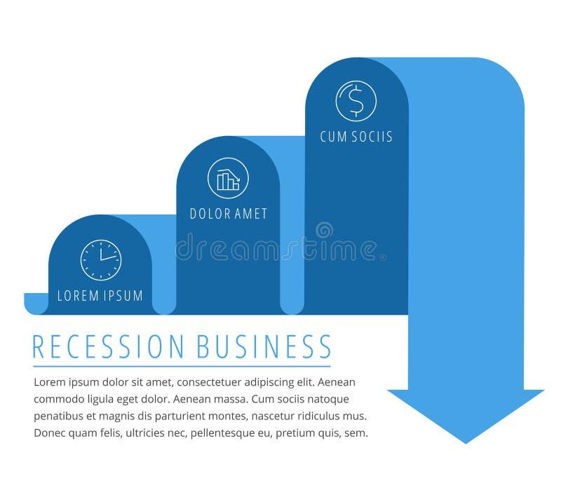 Récession, flèche d'affaires de baisse Vecteur plat de graphique décroissant illustration stock