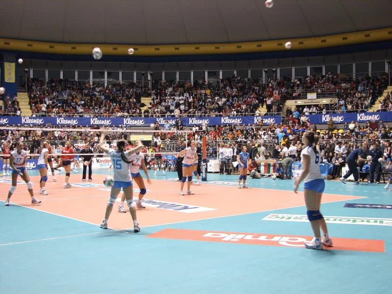 Réchauffage de volleyball photo stock
