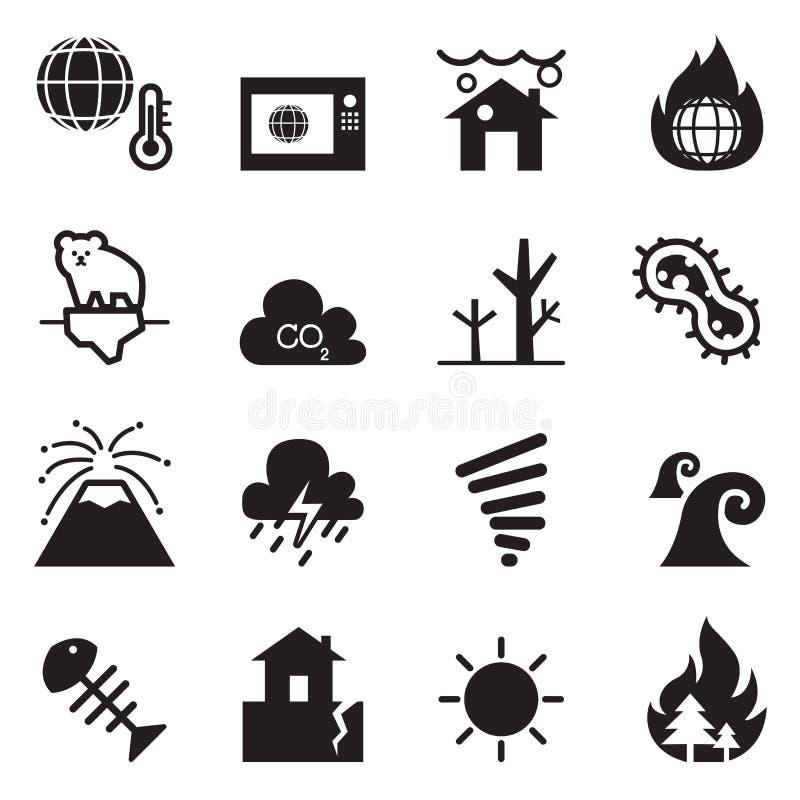 Réchauffement global, catastrophe, icônes de catastrophe réglées illustration libre de droits