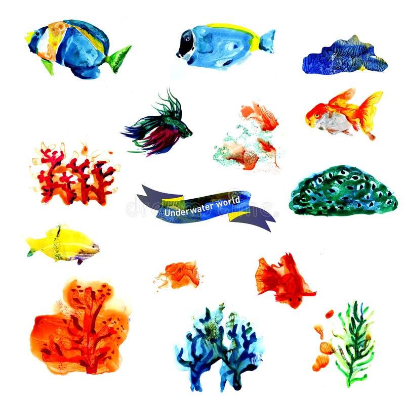 Récif coralien d'aquarelle Conception naturelle de texture pour le papier, tissu, papier peint illustration libre de droits