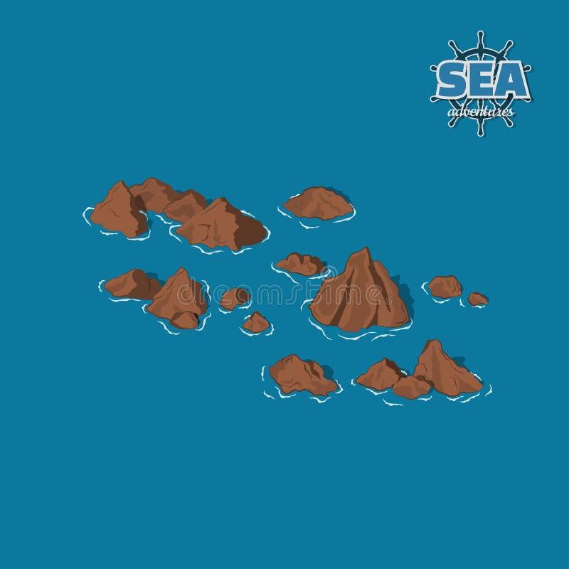 Récifs de Brown sur un fond bleu Roches sous-marines dans le style isométrique illustration 3D Jeu de pirate illustration libre de droits