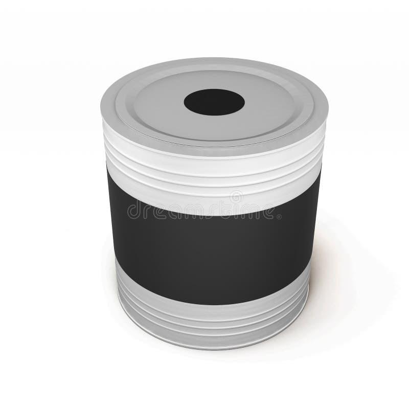 Récipient avec la peinture noire et un label vide 3d illustration libre de droits