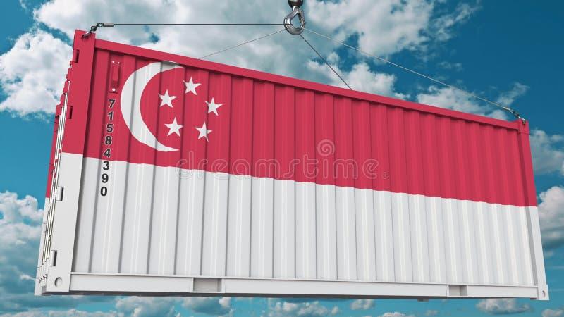 Récipient avec le drapeau de Singapour L'importation ou l'exportation singapourienne a rapporté le rendu 3D conceptuel illustration stock