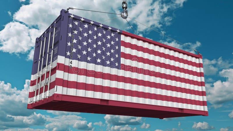 Récipient avec le drapeau des Etats-Unis d'Amérique L'importation ou l'exportation américaine a rapporté le rendu 3D conceptuel illustration stock
