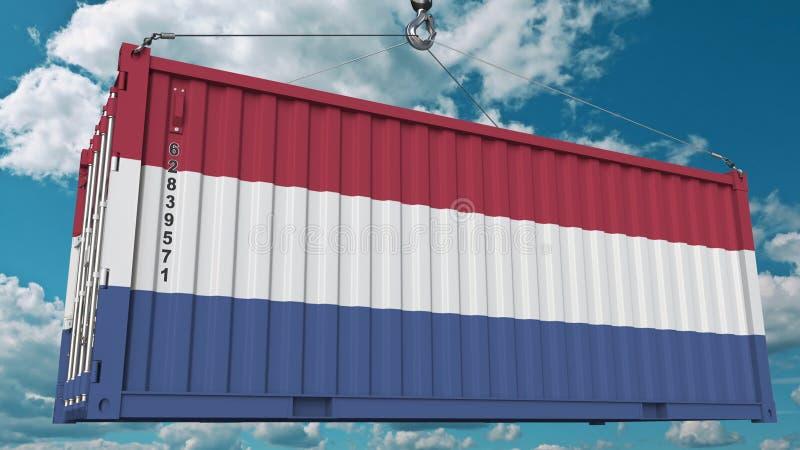 Récipient avec le drapeau des Pays-Bas Les Néerlandais importent ou exportent le rendu 3D conceptuel relatif illustration stock