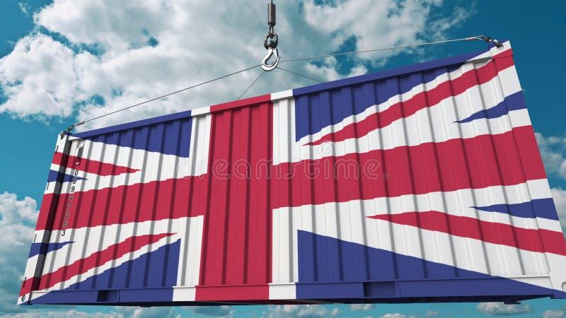 Récipient avec le drapeau du Royaume-Uni Les Anglais importent ou exportent le rendu 3D conceptuel relatif illustration stock