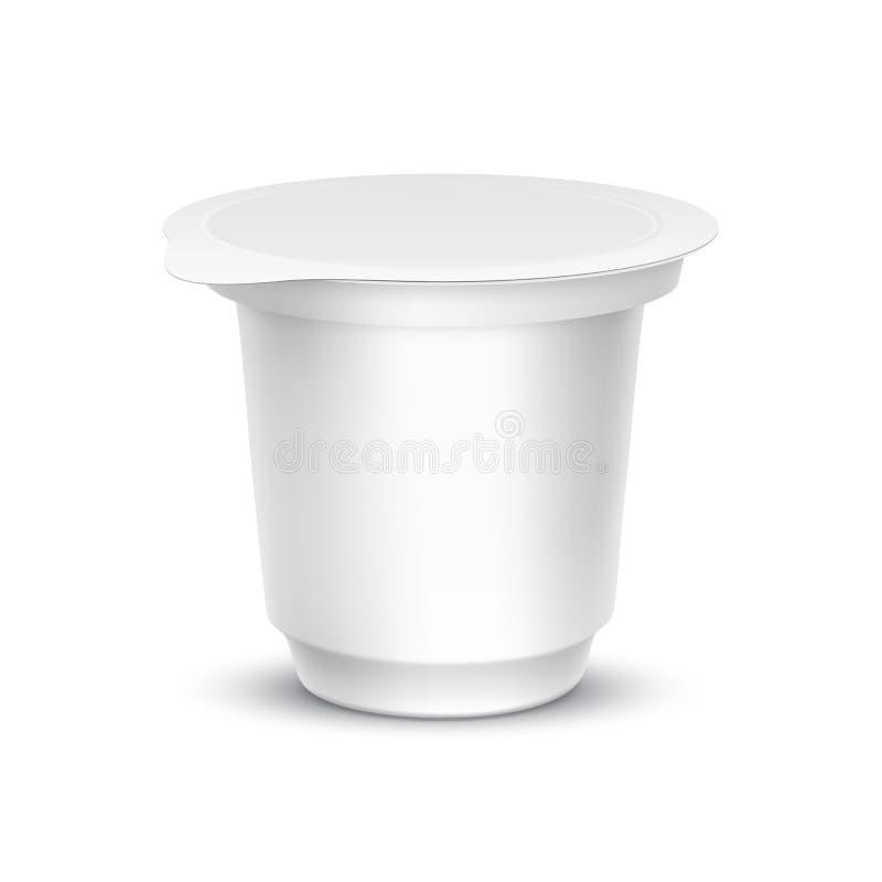 Récipient blanc vide d'emballage pour le yaourt illustration libre de droits